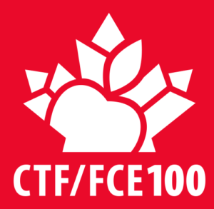 CTF/FCE - Vertical red logo - Centenary